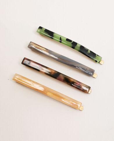 Set van 4 platte haarspeldjes groen