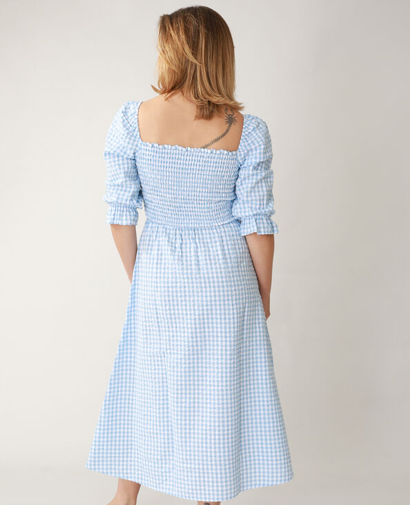 Gesmokte jurk met vichypatroon blauw - Pimkie