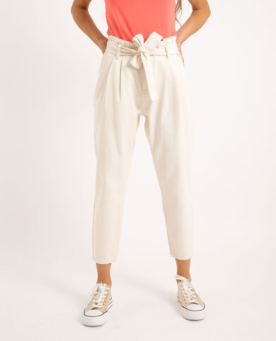 Jeans met hoge taille ecru