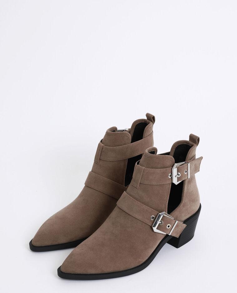 Bottines style western marron