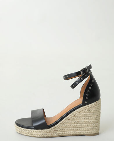 Sandales compensées cloutées noir - Pimkie