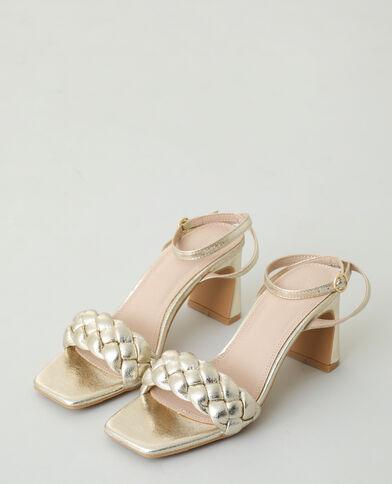 Gevlochten sandalen met hak goudkleurig - Pimkie