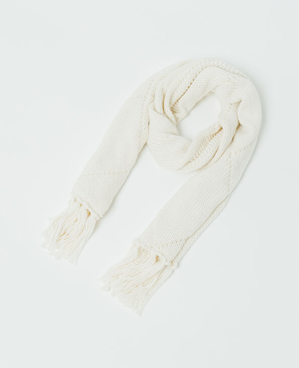 Sjaal met kabelmotief gebroken wit