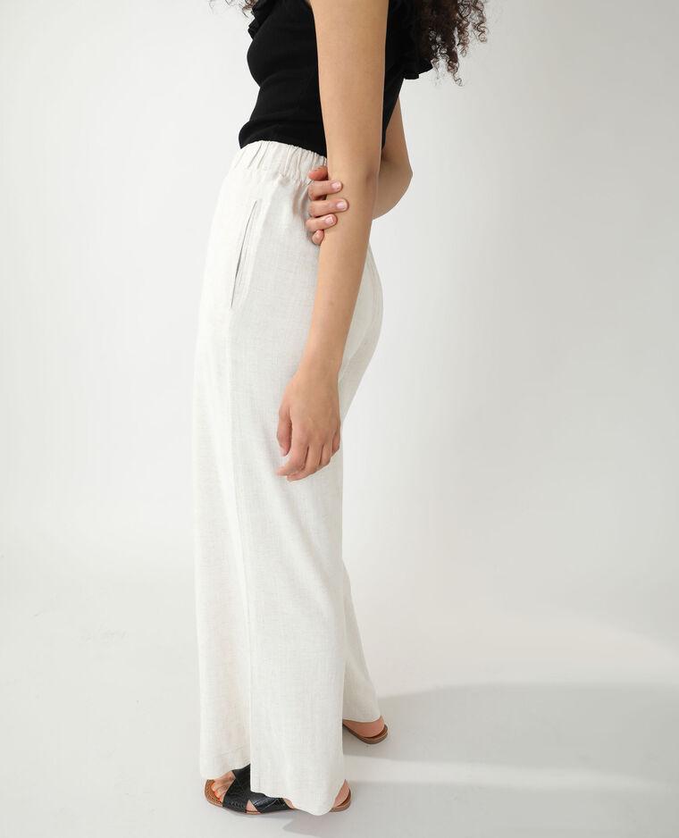 Pantalon wide leg rustique écru - Pimkie