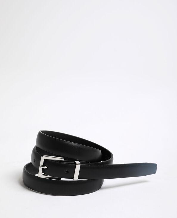 Ceinture fine en faux cuir noir