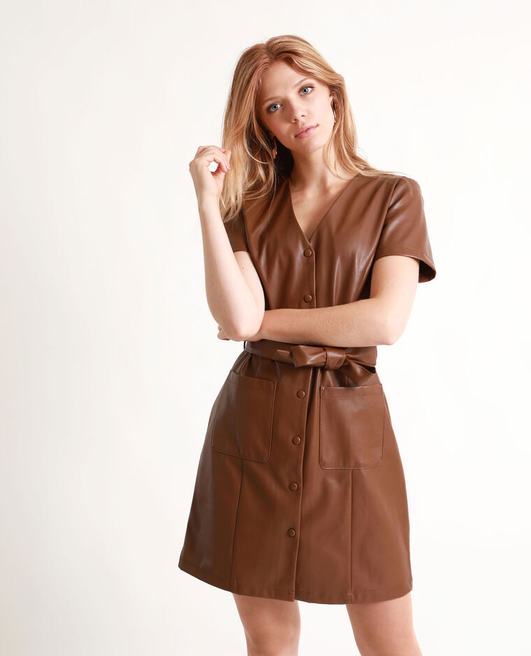 Robe en simili cuir marron