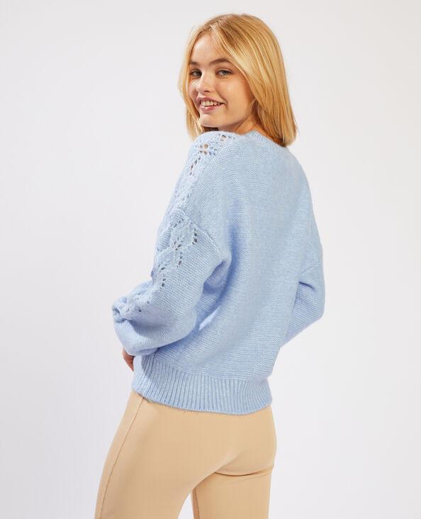 Trui van opengewerkt tricot blauw - Pimkie