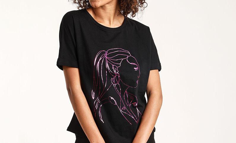 T-shirt Stéphanie Durant x Pimkie zwart