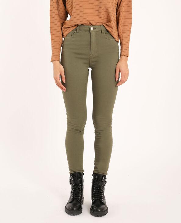 Skinny broek met hoge taille kaki