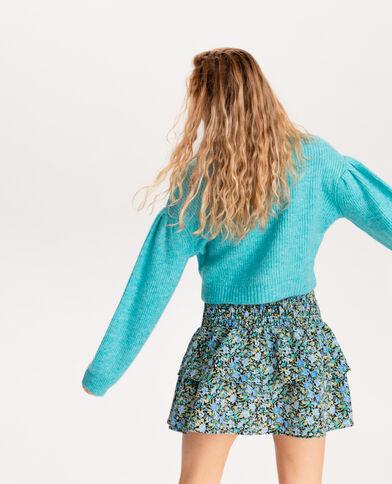 Korte trui van dik tricot blauw