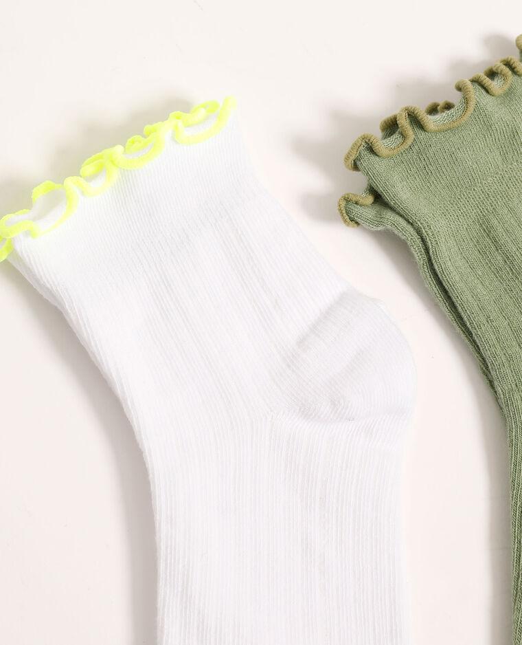 Set van 2 paar sokken met rolboord groen - Pimkie