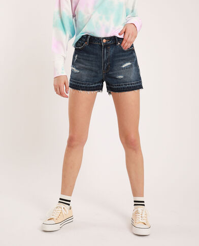 Short en jean raw cut bleu brut