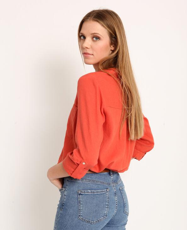 Hemd van 55% linnen oranje