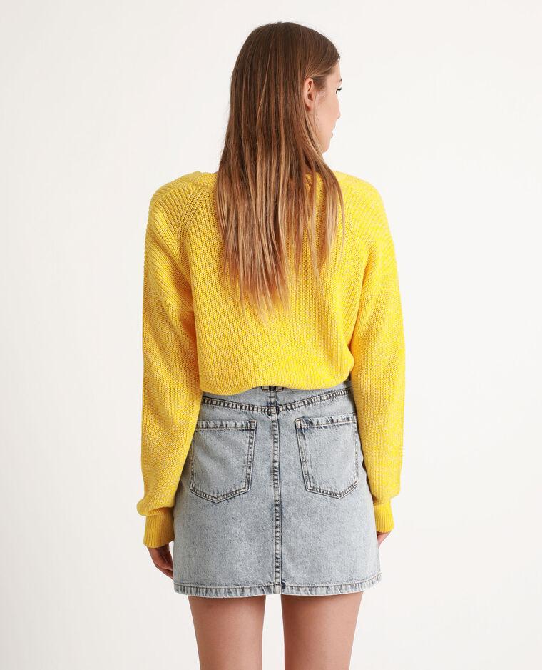 Pull col V jaune