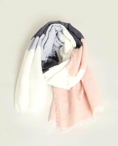 Sjaal met brede strepen blauw