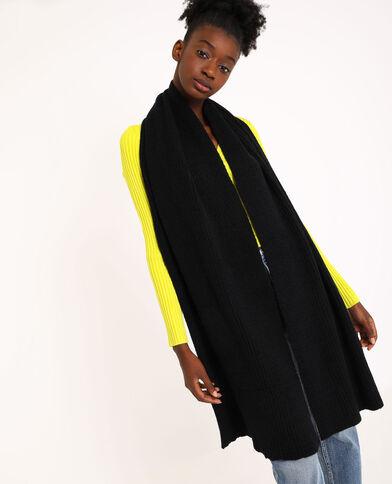 Sjaal van ribstof zwart