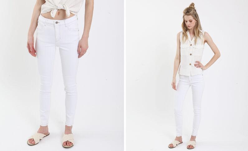 Push-up jeans met middelhoge taille wit