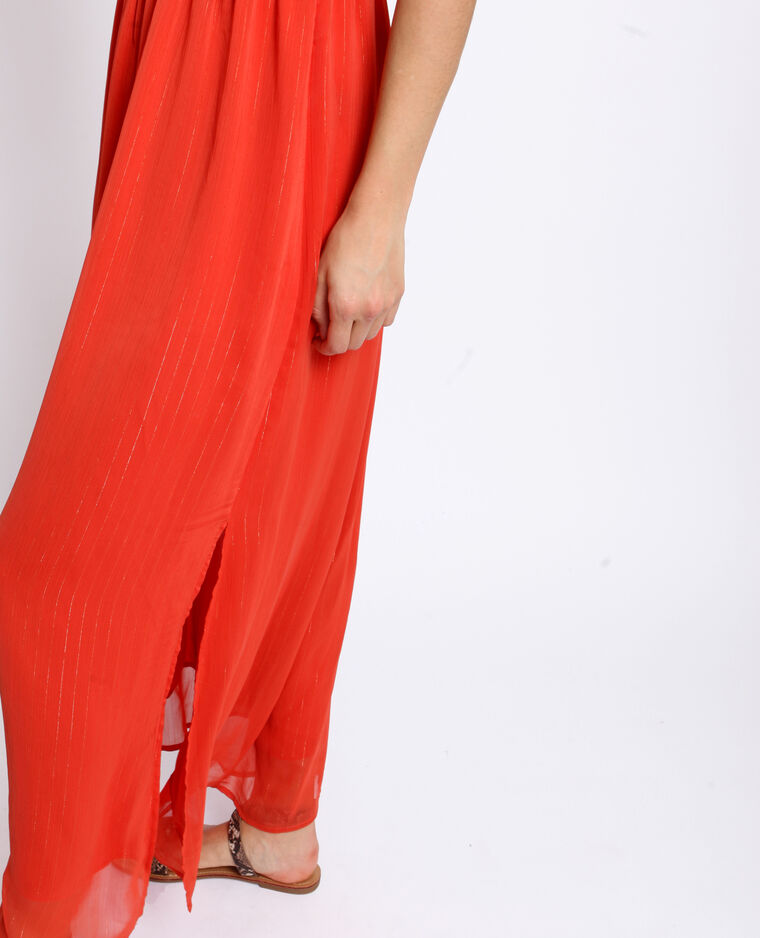 Robe longue empire corail
