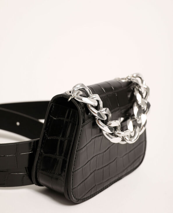 Riemtasje van kunstleer met krokodilpatroon zwart - Pimkie