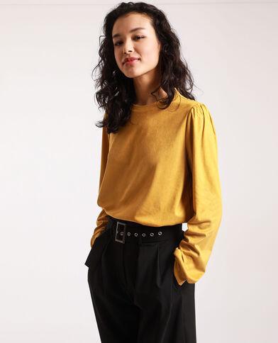 T-shirt van suèdine mosterdgeel