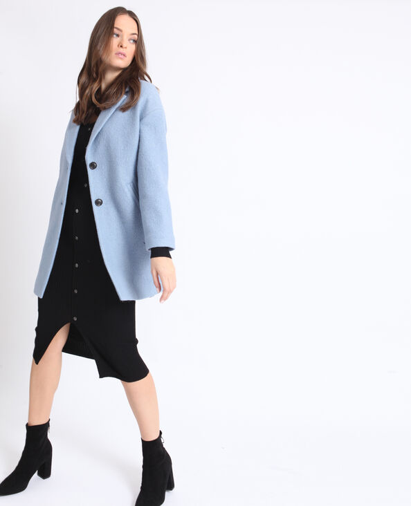 Manteau droit en laine bleu