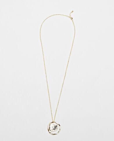Halssnoer met rond hangertje goudkleurig