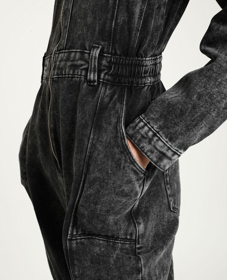 Jeansjumpsuit verwassen grijs