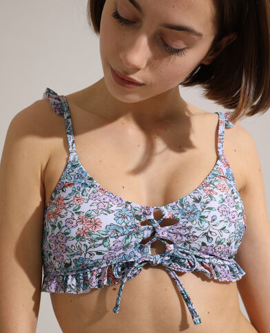 Haut de maillot triangle volanté et à fleurs violet - Pimkie