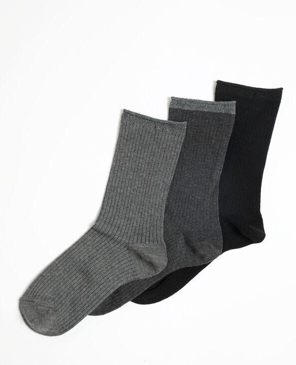 Set van 3 paar hoge sokken lichtgrijs gemêleerd