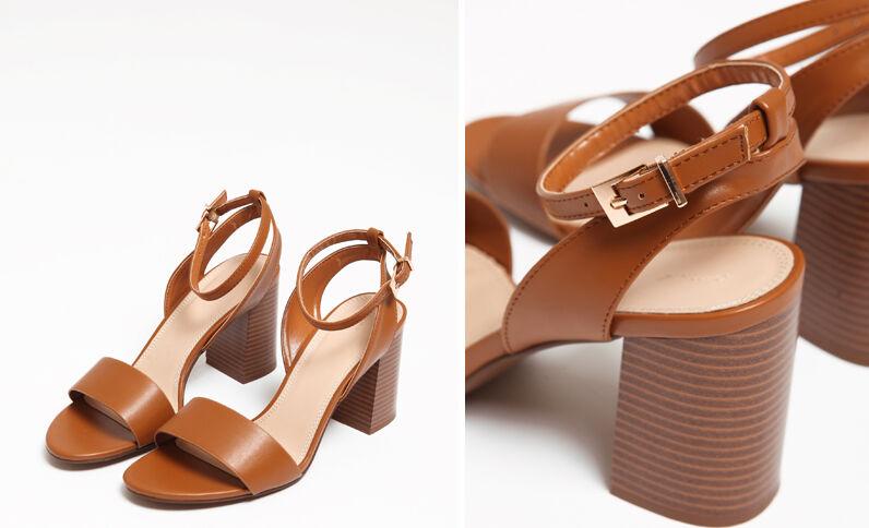 Sandalen met brede hakken kastanjebruin