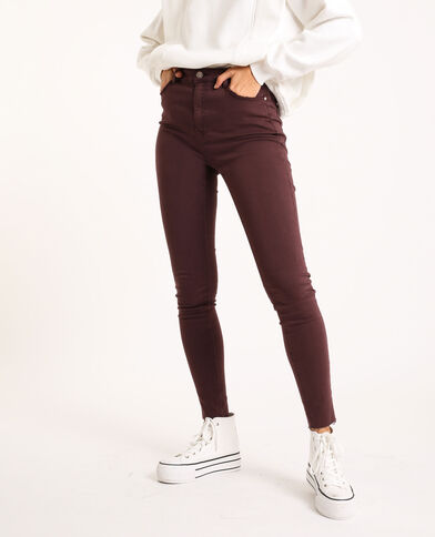 Skinny high waist Bordeaux