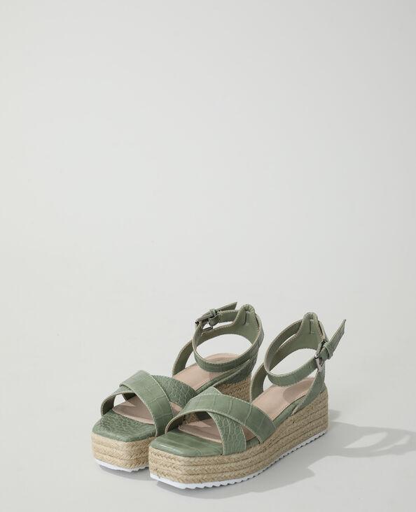 Sandalen met sleehak en krokodillenleereffect kaki - Pimkie