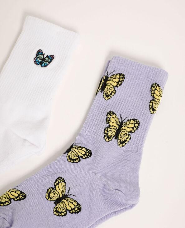 Set van 2 paar sokken met vlindertjes violet - Pimkie
