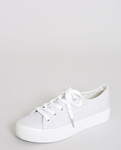 Baskets en toile irisée blanc
