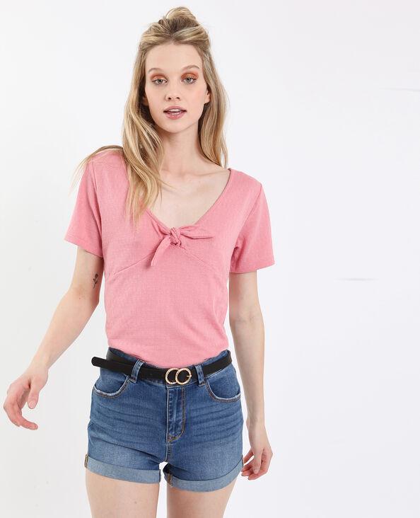 T-shirt à nœud rose