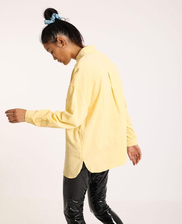 Oversized hemd van dun ribfluweel geel