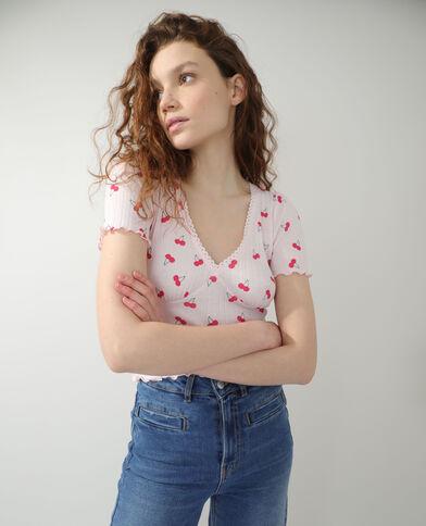 T-shirt met kersenmotief oranje - Pimkie