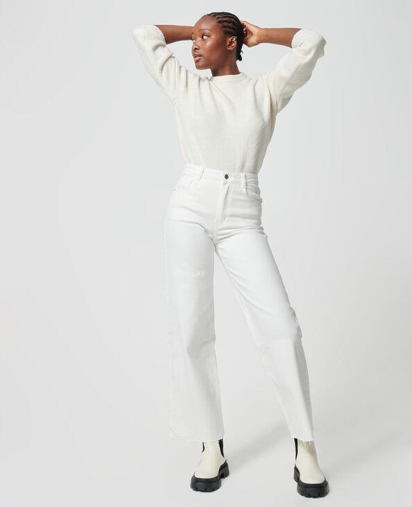 Wide leg jeans met hoge taille ecru - Pimkie