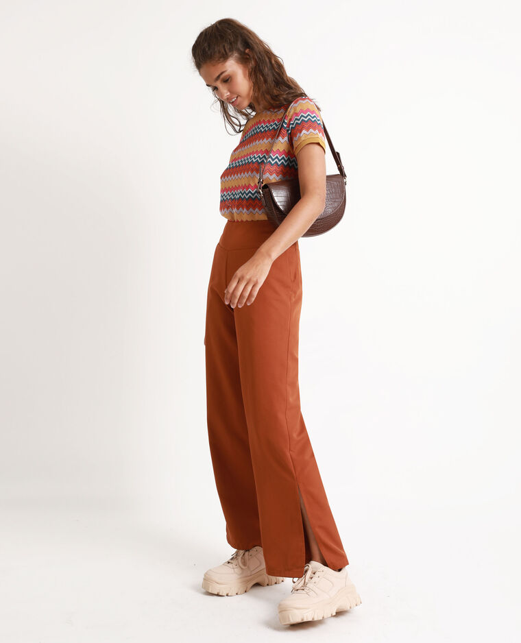 Pantalon fluide à jambes larges marron
