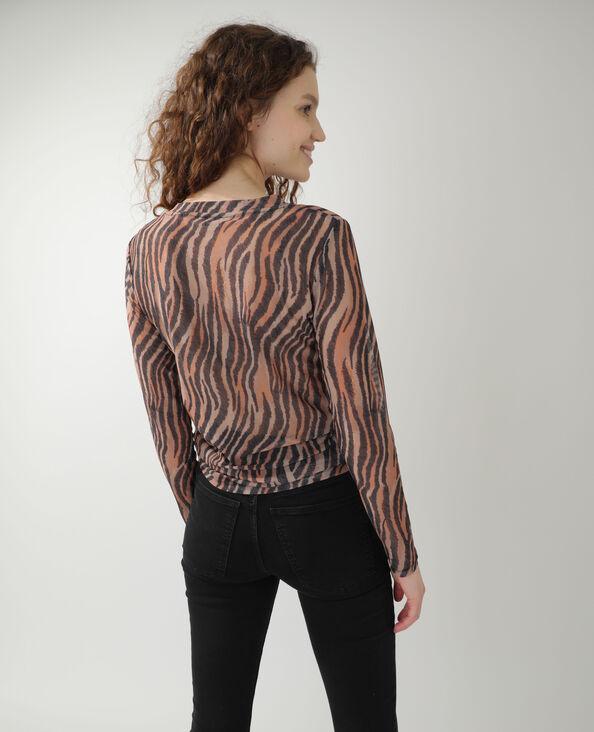 Doorzichtig T-shirt in zebraprint kastanjebruin - Pimkie