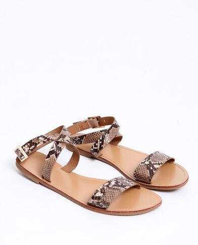 Sandales plates beige ficelle