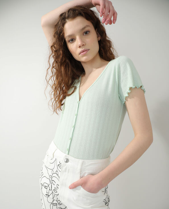 Opengewerkte cardigan groen - Pimkie