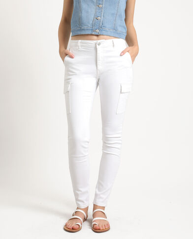 Skinny broek met zakken wit