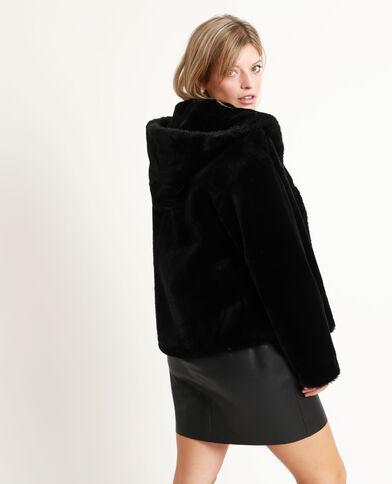 Manteau court en fausse fourrure noir