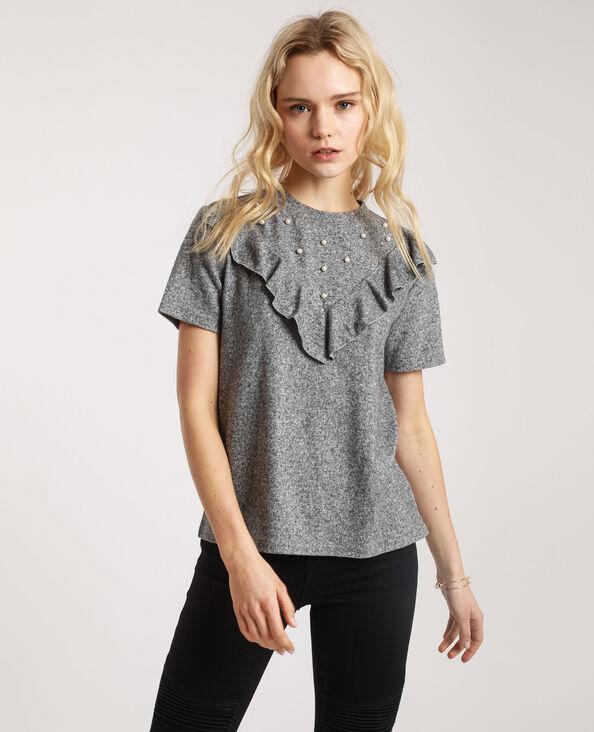 T-shirt met parels parelgrijs