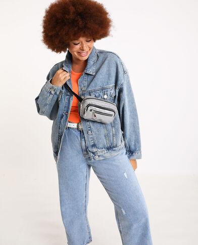 Oversized jeansjasje verwassen blauw