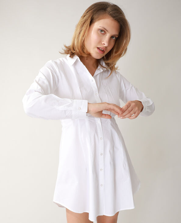 Lang getailleerd hemd ecru - Pimkie