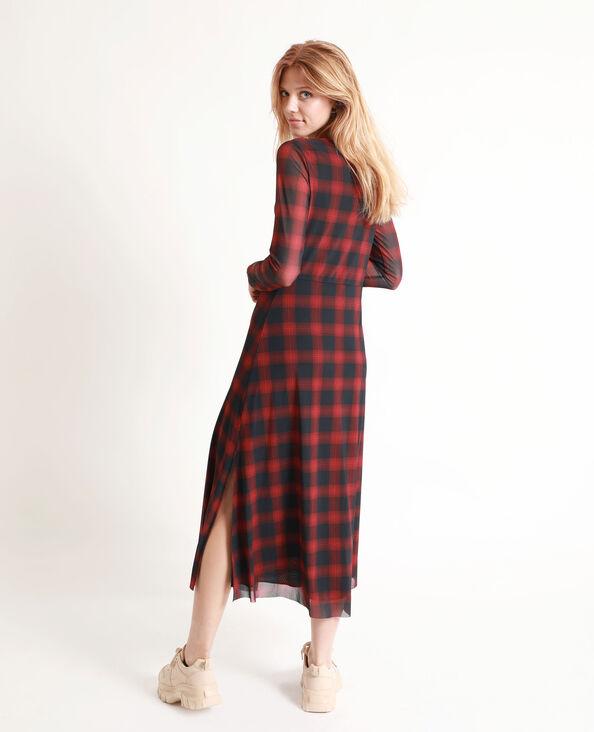 Lange jurk met ruitjes rood