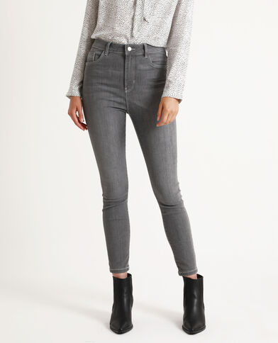 Skinny taille haute gris