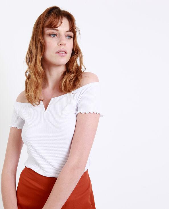 T-shirt met kleine V-hals wit